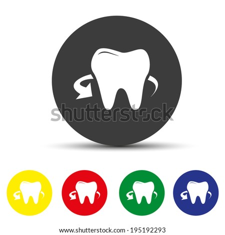 Set of round colored buttons. vector illustration Human teeth icon - stock vector
