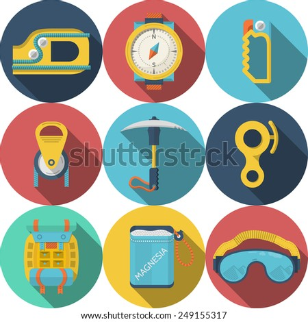 Set of round colored flat vector icons for rappelling or mountaineering or climbing equipment on white background. Long shadow design - stock vector