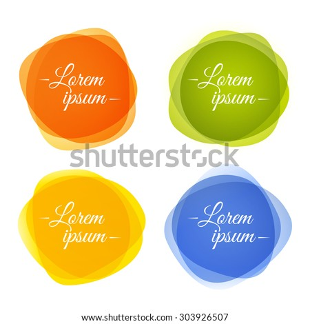 Set of round colorful abstract shapes with transparencies. Vector EPS10 - stock vector