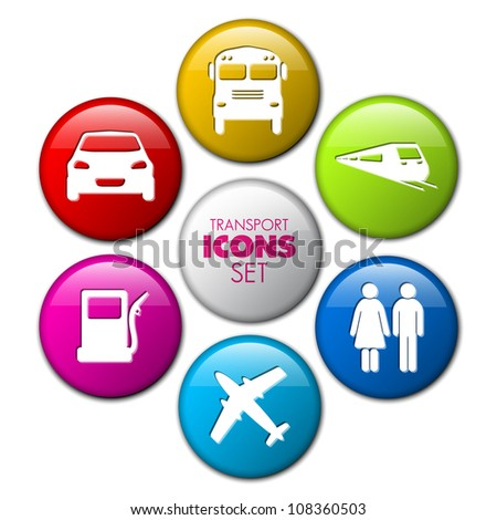 Set of round 3D transport buttons - car, bus, train, plane, gas station - stock vector