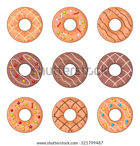Set of round decorated cookies isolated over white - stock vector