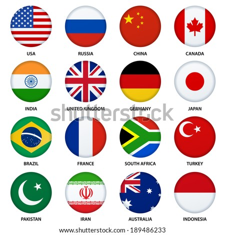 Set of round flags buttons - 1 - stock vector