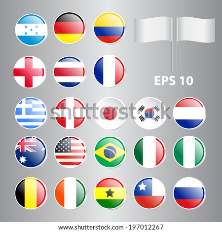 Set of Round Flags World Top Countries Including Brazil, U.S.A., Germany, England, etc. The Most Values - stock vector