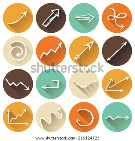 Set of round flat icons. Various arrows with long shadow for your design and infographics. - stock vector