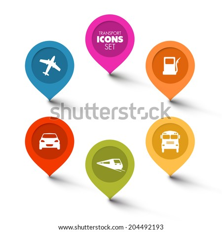 Set of round flat transport pointers - car, bus, train, plane, gas station - stock vector