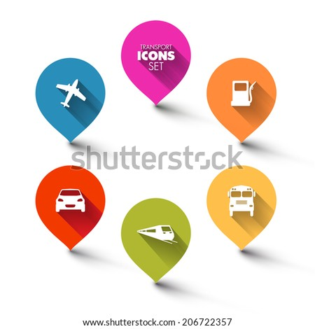 Set of round flat transport pointers - car, bus, train, plane, gas station with a long shadow effect - stock vector