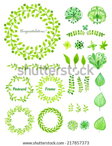 Set of round frame made of various leaves in watercolor. Hand-painted watercolor design elements. Floral motifs. Green set - stock vector