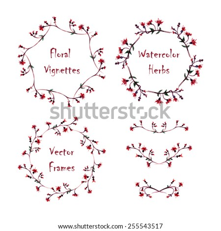 Set of round frames and vignettes made of watercolor  thistle. Hand-painted watercolor design elements isolated on white. Perfect for greetings, invitations, web design. - stock vector