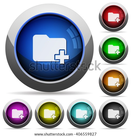 Set of round glossy add new folder buttons. Arranged layer structure. - stock vector