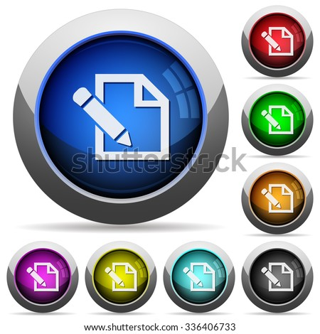 Set of round glossy edit buttons. Arranged layer structure. - stock vector