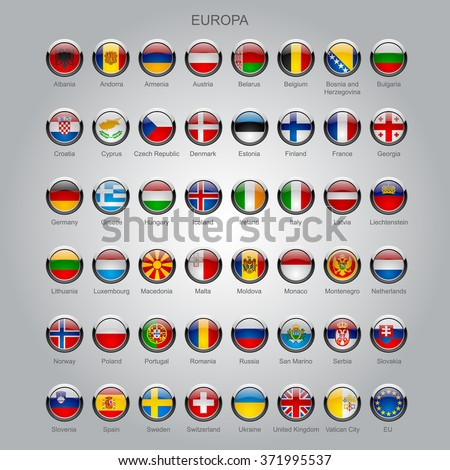Set of round glossy flags of all sovereign countries of Europa with captions in alphabet order.  Vector illustration - stock vector
