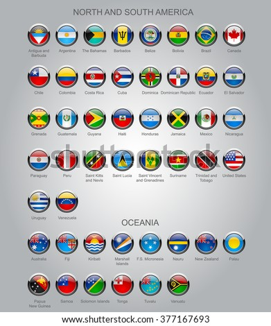 Set of round glossy flags of all sovereign countries of North and South America continents and Oceania with captions in alphabet order.  Vector illustration - stock vector