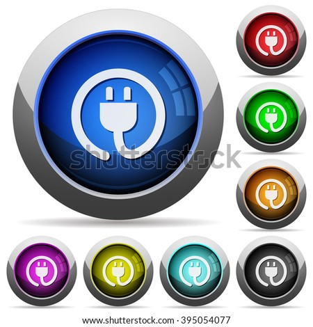 Set of round glossy power cord buttons. Arranged layer structure. - stock vector
