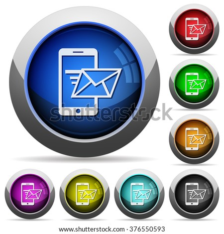 Set of round glossy Sending email buttons. Arranged layer structure. - stock vector