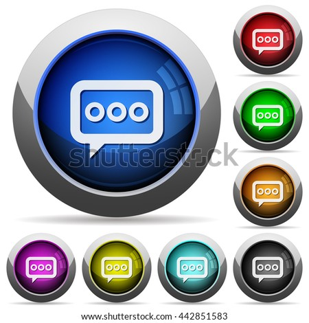 Set of round glossy Working chat buttons. Arranged layer structure. - stock vector