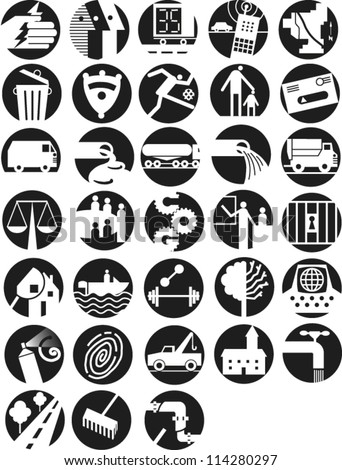 Set of round icons illustrating infrastructure and government - stock vector