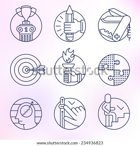 Set of round icons. Thin line, skill, training, ability, achievement, result. - stock vector
