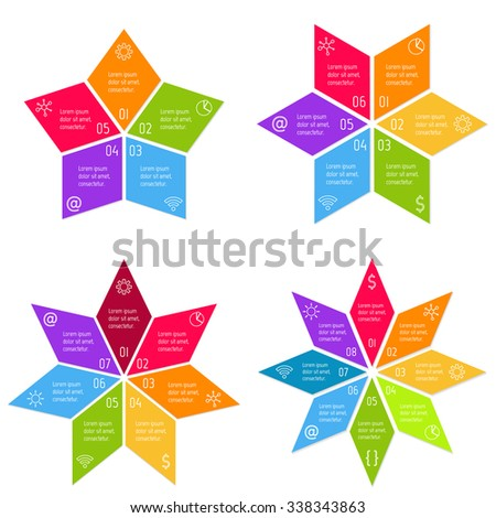 Set of round infographic banners with 5, 6, 7, 8 parts. Vector paper progress steps for tutorial. Number banner templates. Business concept sequence banners. EPS10 star layout. - stock vector