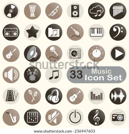 Set of round music icons for app and web design - stock vector