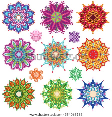 Set of Round Ornament Patterns - stock vector