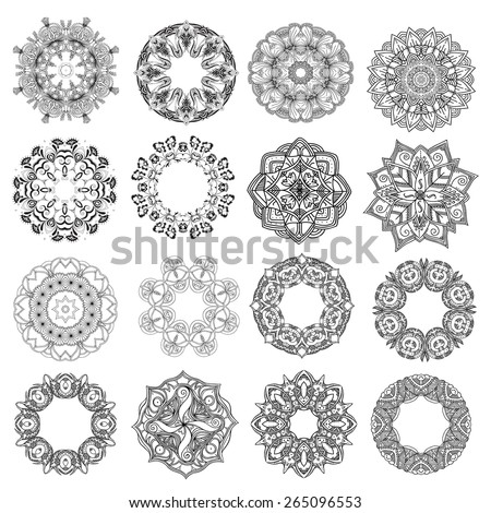 Set of round ornaments. Lace mandalas. Vector art - stock vector