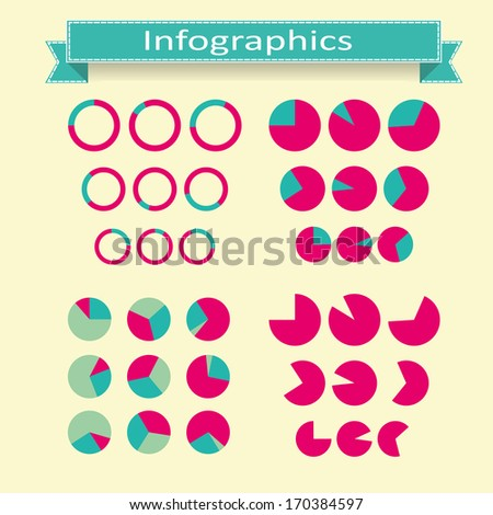 set of round pie diagrams for presentation or infographics - stock vector
