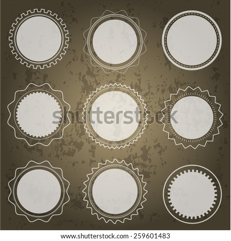 Set of round transparent shapes on dark background - stock vector