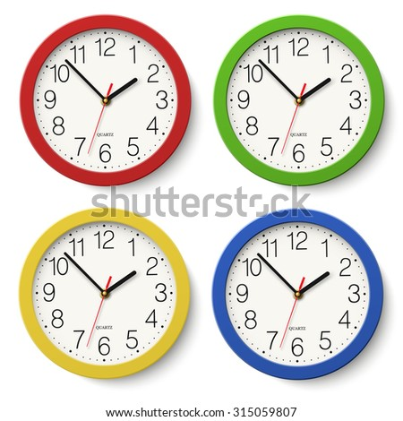 Set of round wall clock with red, green, blue, yellow color bodies isolated on white background - stock vector