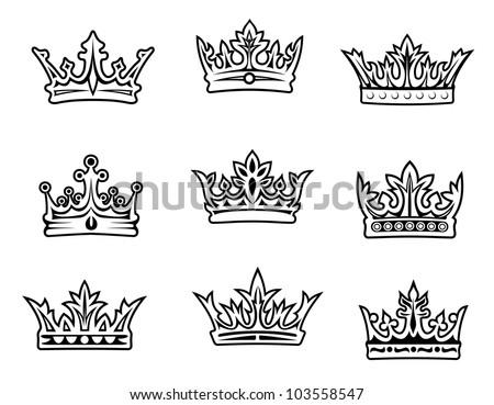 Set of royal crowns for heraldic design. Vector illustration - stock vector