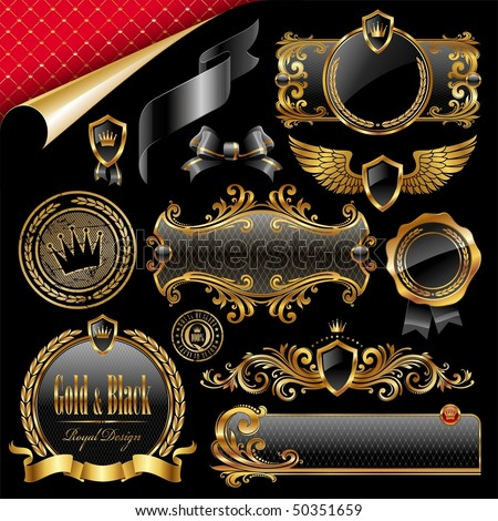 Set of royal gold and black design elements - stock vector