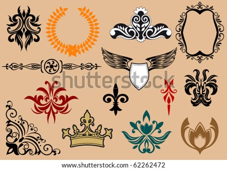 Set of royal heraldic elements isolated on background. jpeg version also available in gallery - stock vector
