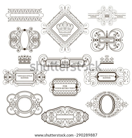 Set of royal monogram design template. Calligraphic label and frame from lines pattern - stock vector