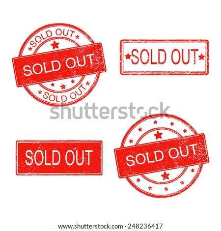 set of rubber stamp with text sold out on white background - stock vector