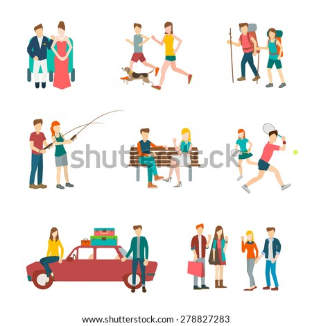 set 9 of runner,audience,tennis,fishing,,backpack,car travel,park sitting vector illustration isolate on white background. - stock vector