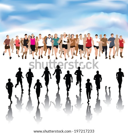 Set of running people silhouettes. Vector Illustration - stock vector