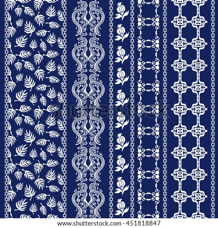 Set of rustic bohemian borders. Damask seamless pattern, leaves stripes, gypsy and ethnic motifs. Ethnic textile collection. White on dark blue. - stock vector