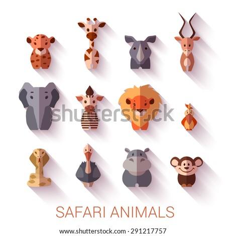 Set of Safari animals. Flat style. Vector illustration. - stock vector
