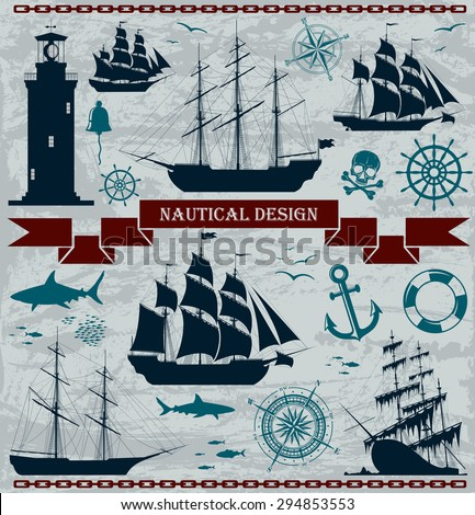 Set of sailing ships with nautical design elements. Vector illustration. No trace.  - stock vector