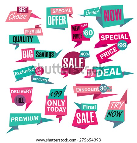 Set of Sale and Best Choice paper Badges and Labels. Vector illustration. - stock vector