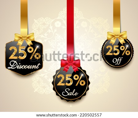 Set of 25% sale and discount golden labels with red bows and ribbons Style Sale Tags Design, 25 off - vector eps10 - stock vector