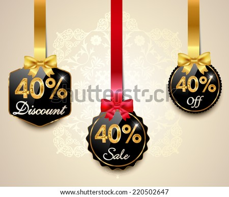 Set of 40% sale and discount golden labels with red bows and ribbons Style Sale Tags Design, 40 off - vector eps10 - stock vector