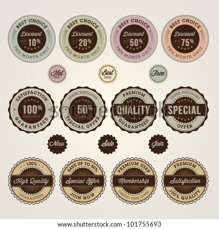 Set of sale and discount labels and stickers - stock vector