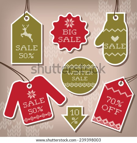 Set of sale and discount labels for winter - stock vector
