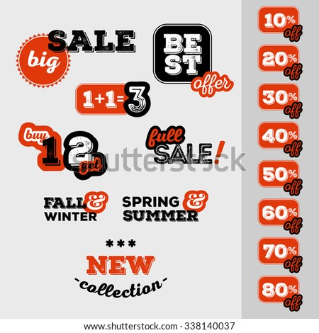 Set of sale and discount offer label. Banner, label, flier, card, board. Shabby design. Shopping sticker. Price reduction. Announcement of sale. Trade commerce element. Promo sign. Vector illustration - stock vector