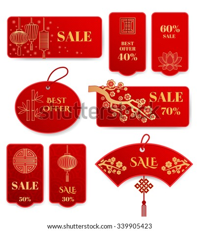 Set of sale banners and badges Chinese new year. Label asian promotion, consumerism vector illustration - stock vector