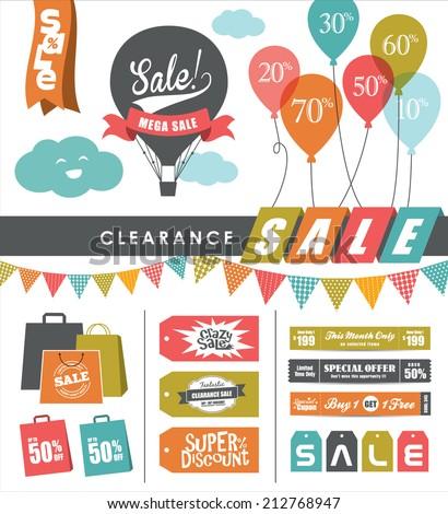 set of sale design elements - stock vector