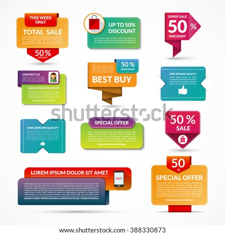 Set of sale, discount, special offer vector banners, labels, tags, design elements. Origami style - stock vector
