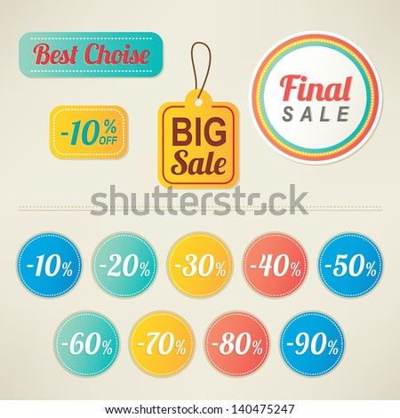 Set of sale labels and percent stickers - stock vector