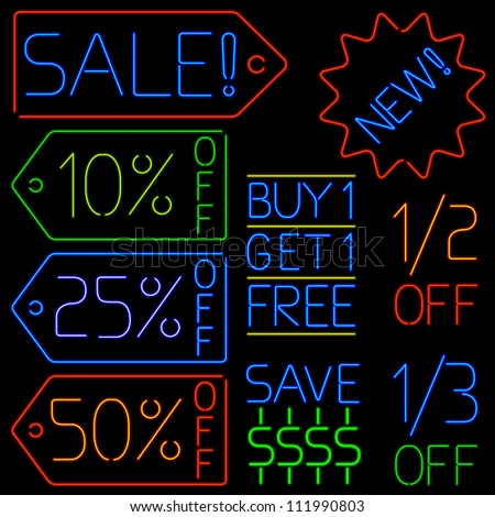 set of sales signs rendered in neon style - stock vector
