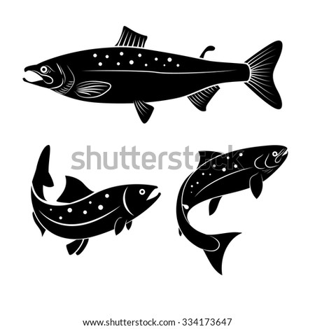 Set of salmon fish isolated on white background. Logo or label design element. Vector illustration. - stock vector